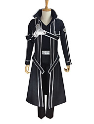 cheap -Inspired by Sword Art Online Kirito Anime Cosplay Costumes Cosplay Suits Solid Colored Long Sleeves Coat Pants Gloves Belt Strap T-shirt