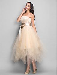 A-Line Strapless Tea Length Tulle Cocktail Party Homecoming Holiday Dress with Draping Sash / Ribbon by TS Couture®