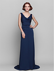 cheap -Sheath / Column Cowl Neck Sweep / Brush Train Jersey Mother of the Bride Dress with Sequin / Side Draping by LAN TING BRIDE®