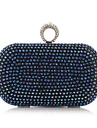 Women Bags All Seasons Polyester Metal Evening Bag with Rivet Crystal/ Rhinestone for Event/Party Gold Silver Blue