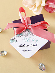 cheap -Personalized Favor Tags - Green Flower (set of 36) Wedding Favors