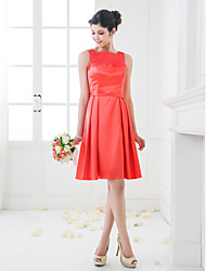 A-Line Princess Square Neck Knee Length Stretch Satin Bridesmaid Dress with Lace by LAN TING BRIDE®