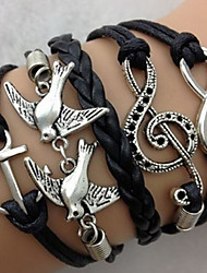 cheap -Women's Charm Bracelet Leather Bracelet Wrap Bracelet Personalized Vintage Multi Layer Inspirational Fashion European Leather Fabric Alloy