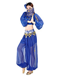 Belly Dance Outfits Women's Performance Chiffon Beading 2 Pieces Long Sleeve 22.44inch(57cm) Natural Top Pants