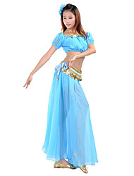 cheap -Belly Dance Outfits Women's Training Performance Chiffon Beading Coin Split Front 7.87inch(20cm) Top Skirt