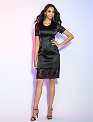 Sheath / Column Jewel Neck Knee Length Lace Satin Chiffon Cocktail Party Holiday Dress with Lace by TS Couture®