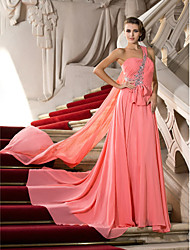 A-Line Princess One Shoulder Court Train Watteau Train Chiffon Prom Dress with Beading by TS Couture®