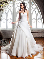 A-Line Sweetheart Court Train Organza Wedding Dress with Beading Appliques Criss-Cross by LAN TING BRIDE®