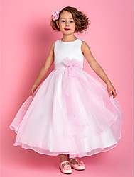 cheap -A-Line Ankle Length Flower Girl Dress - Organza Satin Sleeveless Spaghetti Straps with Flower by LAN TING BRIDE®