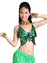 cheap -Belly Dance Tops Women's Training Polyester Beading Coins Sequins