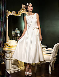 cheap -A-Line Bateau Neck Tea Length Satin Custom Wedding Dresses with Bowknot Draping Sash / Ribbon by LAN TING BRIDE®