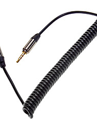 cheap -Retractable Spring 3.5mm Audio Male to Male Connection Cable Black (1.5M)