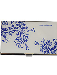 cheap -Personalized Blue-White Flower Pattern Engraved Business Card Holder
