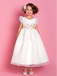 A-Line Tea Length Flower Girl Dress - Organza Short Sleeves V-neck by LAN TING BRIDE®