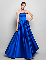 A-Line Strapless Floor Length Satin Prom Formal Evening Military Ball Dress with Pleats by TS Couture®