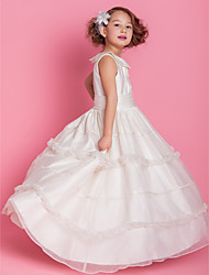 cheap -A-Line Ball Gown Floor Length Flower Girl Dress - Satin Sleeveless Jewel Neck by LAN TING BRIDE®