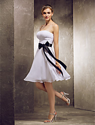 cheap -A-Line Strapless Knee Length Chiffon Bridesmaid Dress with Draping Sash / Ribbon by LAN TING BRIDE®