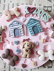 Cute Dog Toy Silicone Mold Fondant Molds Sugar Craft Tools Chocolate Mould  For Cakes