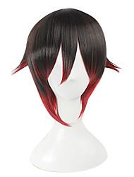 Perruques de Cosplay RWBY Ruby Noir / Rouge Court Anime Perruques de Cosplay 35 CM Fibre résistante à la chaleur Féminin