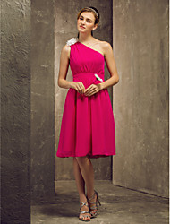 cheap -A-Line One Shoulder Knee Length Chiffon Bridesmaid Dress with Flower(s) by LAN TING BRIDE®