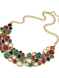 cheap -Women's Jewelry Luxury Festival/Holiday European Colorful Statement Necklace Synthetic Gemstones Resin Alloy Statement Necklace , Party