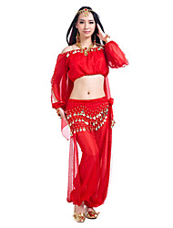 cheap -Belly Dance Outfits Women's Training Chiffon Sequins 3 Pieces Long Sleeve Top Pants Hip Scarf