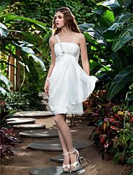 A tubino Monospalla Al ginocchio Chiffon Vestito da sposa con Perline Con ruche di LAN TING BRIDE®