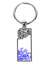 Personalized Engraved Gift Creative Blue and White Rectange Lotus Pattern Keychain