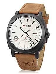 cheap -Men's Military Watch PU Band Khaki