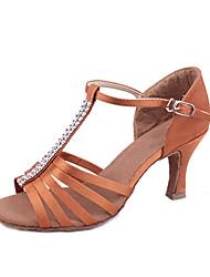 Недорогие -Индивидуальные женские атласная танцевальная обувь с Rhinestone для Латинской / Бальные Сандалии