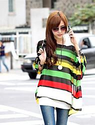 Stripes conjuntas Cor das mulheres Adicionar aleatório tamanho Stripes Blusa