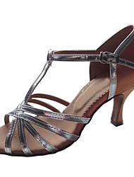 Women's Dance Shoes Latin/Ballroom Satin/Patent Leather Heel Silver Customizable