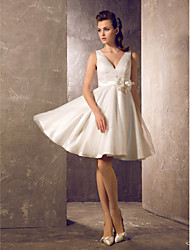 A-Line Princess V-neck Knee Length Tulle Wedding Dress with Sash / Ribbon Flower Side-Draped by LAN TING BRIDE®