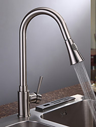 Contemporary Pull-out/­Pull-down Deck Mounted Pullout Spray Ceramic Valve One Hole Single Handle One Hole Nickel Brushed , Kitchen faucet