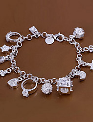 cheap -Sweet 18.5cm Women's Silver Copper Charm Bracelet(Silver)(1 Pc) Jewelry Christmas Gifts