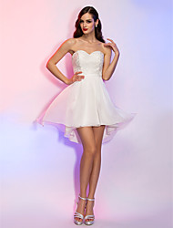 cheap -A-Line Princess Strapless Sweetheart Asymmetrical Chiffon Homecoming Holiday Dress with Draping by TS Couture®