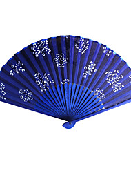 cheap -Floral Royal Blue Satin Hand Fan - Set of 4 Wedding Favors Beautiful
