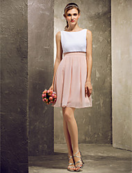 cheap -A-Line Bateau Neck Short / Mini Chiffon Bridesmaid Dress with Pleats by Weishang