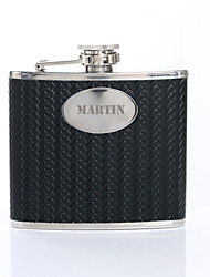 cheap -Personalized Father's Day Gift Woven Pattern 5oz PU Leather Capital Letters Flask