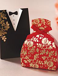 billige -Floral Gown & Tuxedo Favor Box - Sæt med 12