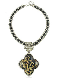 европейский стиль старинные смолы черный клевер ожерелье элегантный стиль