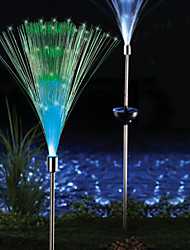 Pack of 2 Solar Fiber Optic Color-Changing Garden Stake Light