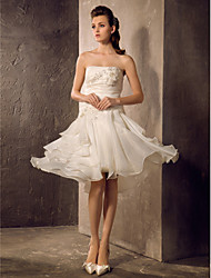 A-Line Princess Strapless Knee Length Organza Wedding Dress with Beading Appliques Ruche Tiered by LAN TING BRIDE®