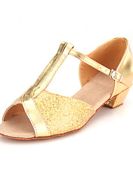 cheap -Women's Latin Shoes / Ballroom Shoes Sparkling Glitter Sandal Buckle Low Heel Non Customizable Dance Shoes Gold / Silver / Gold
