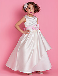 A-Line Floor Length Flower Girl Dress - Satin Sleeveless Scoop Neck by LAN TING BRIDE®