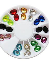 24PCS 12-Color Glitter Oval Pedrinhas Decorações Nail Art