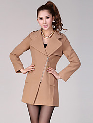 Lashabeney Elegant Slim Tailor Collar Coat (Camel)