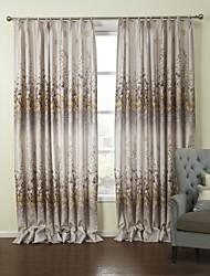 baratos -país dois painéis florais botânicos quarto cinzento cortinas de painel de poliéster cortinas