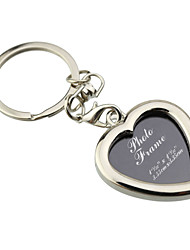 cheap -Personalized Engraved Gift Creative Heart Shape Photo Frame Keychains (Set of 6)