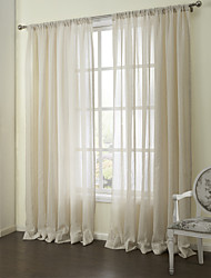 cheap -Two Panels Curtain Neoclassical , Stripe Bedroom Linen Material Sheer Curtains Shades Home Decoration For Window